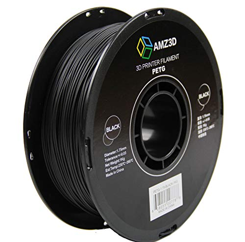 1.75mm Black PETG 3D Printer Filament - 1kg Spool (2.2 lbs)
