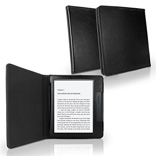 Case for Amazon Kindle Oasis (1st Gen 2016) (Case by BoxWave) - Slim Leather Case, Low Profile Cover w/Textured Leather Back for Amazon Kindle Oasis (1st Gen 2016) - Nero Black