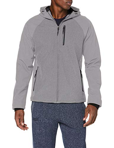 Superdry Herren Hooded Softshell Jacke, Grau (Light Grey Marl 41Q), Large