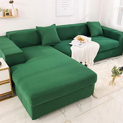 B/H Lavable/Antiácaros Funda de sofá,Funda de sofá elástica, Funda de sofá de Color sólido con Todo Incluido-Verde Oscuro_195-230cm,Sillón Elastano Fundas de Sofá