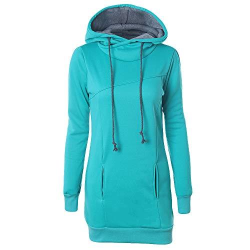 TOPKEAL Mode Damen Hoodie Herbst Winter Einfarbig Pullover Langarm Kapuzenpullover Sweatshirt Frauen Plus Größe Lässig Tops mit Taschen Tunnelzug (A1_Grün, M)