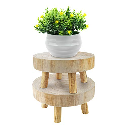 Yistao Set of 2 Mini Wooden Stool Display Stand, Rustic Decorative Round Wood Pedestal Plant Pot Riser Mini Plant Stand Potted Plant Shelf Succulents Bonsai Rack for Indoor Outdoor Home Decor