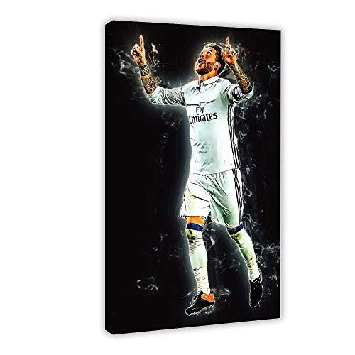Póster deportivo de jugador de fútbol Sergio Ramos 05, lienzo para decoración de dormitorio, deportes, paisaje, oficina, decoración de habitación, regalo, 30 x 45 cm, estilo marco 1