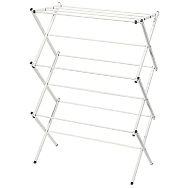 StorageManiac XL Foldable Clothes Drying Rack, 3-tier 41 Inch, Stainless Steel, White