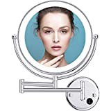 Benbilry 9 Inch LED Wall Mounted Mirror, 1x/5x Magnification, Double Sided 360° Extendable Lighted Wall Mount Makeup Mirror with AC Adaptor for Bathroom Hotels Home(9' 5X Wall Mount Mirror)