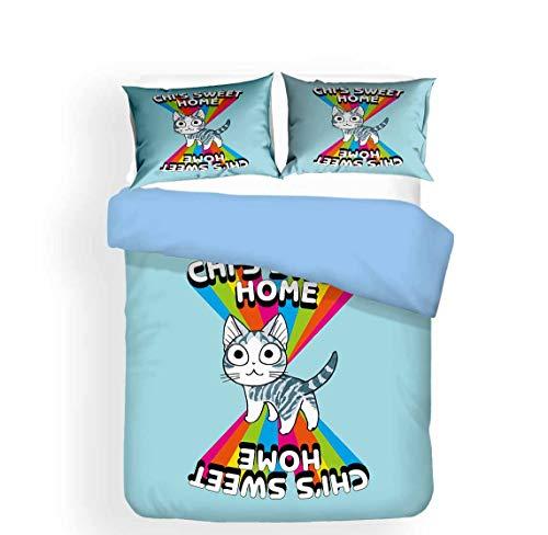 JNSS Chi's Sweet Home - Juego de cama infantil, diseño de gato, 1 funda nórdica y 2 fundas de almohada (Chi3, 220 x 240 cm + 80 x 80 cm x 2)