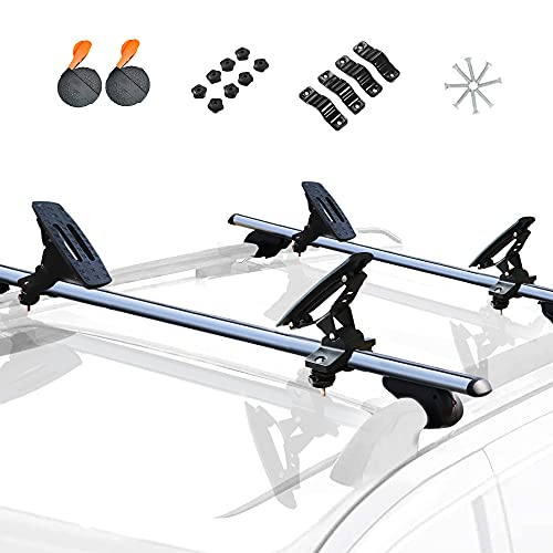 ASMSW 165 LB Kayak Roof Rack Saddles Universal Canoe Boat Carrier 4PCS Black, Includes 2×Tie Down Straps Top Mounted on Car SUV Crossbar Fit in Width Less Than 4.3inch (11cm)