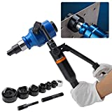Bonvoisin 120KN Hydraulic Hole Puncher Manual Punching Tool 360 Degree Rotary Head Hole Punching Kit Portable Hole Digger with 6 Dies for Stainless Steel Iron Aluminum Plate (WK-12AL, 120KN)
