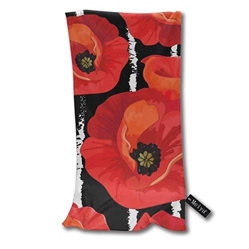 QHMY Amapolas Rojas en Rayas Negro Blanco Floral Toallas de Mano Toalla de Playa Toalla de Hielo Cool instantánea Toalla de Secado rápido Toalla de Microfibra Toalla Deportiva de enfriamiento 12 X 27