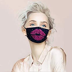 Sequin Protect Face Mask Cloth with Pink Lips Rhinestone