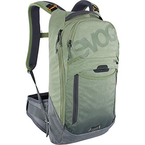EVOC TRAIL PRO 10l Protektor Rucksack für Trailriding & Renneinsätze (Größe: L/XL, LITESHIELD PLUS Rückenprotektor, extrem leicht, breite Hüftflossen, 3l Trinkblasenfach), Olive / Carbon Grau