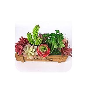 Silk Flower Arrangements Artificial Succulent (9pcs+1 Wood Plate)/Set Plastic Aloe Lotus Flower Bonsai Table Decoration Greenery Plant