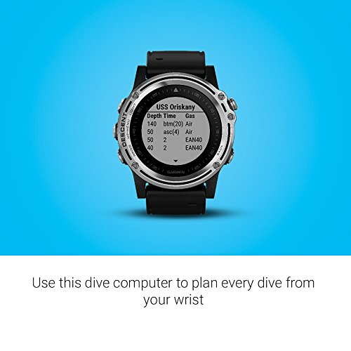 Garmin Descent Mk1, Watch-Sized Dive Computer with Surface GPS, Includes Fitness Features, Silver/Black 3