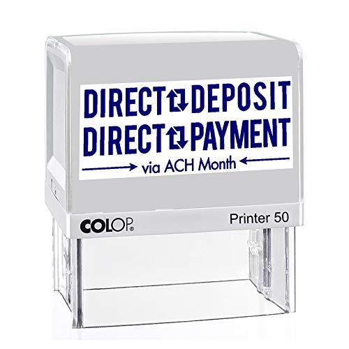 IMPACT2PRINT Colop Printer 50 sello de goma autoentintado con texto de depósito directo sello comercial personalizado oficina estacionaria