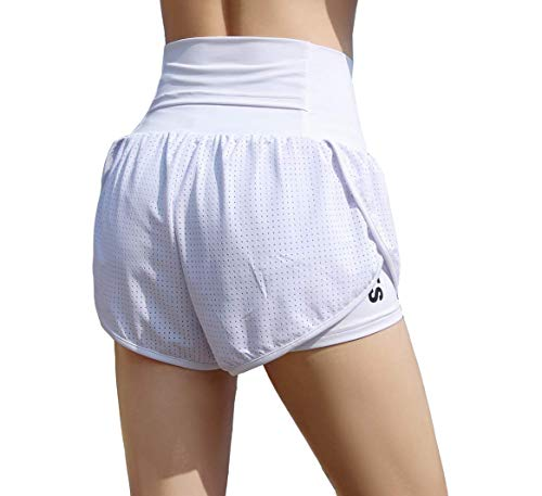 EDENCOMERS Women Workout Fitness Running Shorts Double Layer Active Yoga Gym Sport Shorts Classic White