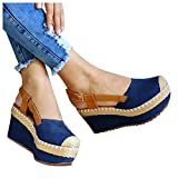 Sandals for Women Platform,2021 Close Toe Platform Sandal Shoes Summer Espadrille Wedges Shoes Buckle Strap Sandals