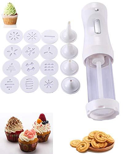 YOYOLIFE Electric Cookie Press, Cookie Making kit, DIY Cookie Making and Cake Decoration Tool kit for Baking (White)
