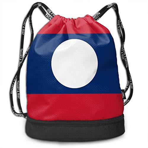 PmseK Turnbeutel Sportbeutel Kordelzug Rucksack, Drawstring Bag Laos Flag Shoulder Bags Travel Sport Gym Bag Print - Yoga Runner Daypack Shoe Bags with Zipper and Pockets