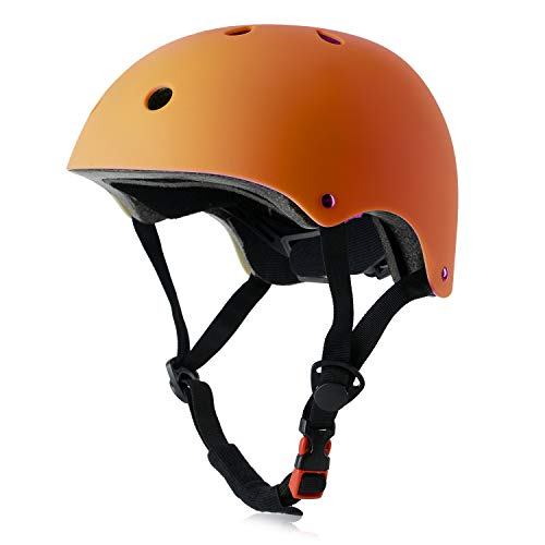 Kids Bike Helmet, Adjustable and Multi-Sport, from Toddler to Youth, 3 Sizes (Orange)