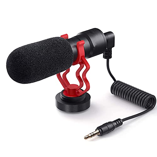 Micrófono de vídeo, micrófono universal para cámara de fotos con soporte amortiguador, para iPhone, smartphones Android, Canon EOS, cámaras réflex digitales Nikon