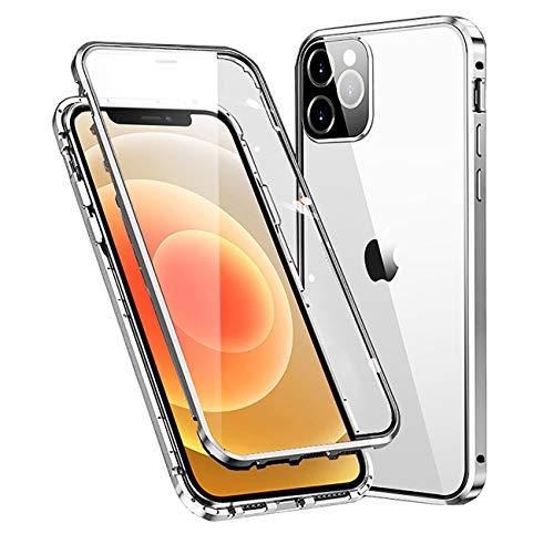 MOSSTAR Cover Apple iPhone 12 Pro Max,Custodia 360 Gradi Protezione Full Body Trasparente Vetro Temperato+Metal Bumper con Adsorbimento Magnetico,Rugged Armor per iPhone 12 Pro Max 6,7'' Case,Argento