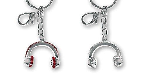 Llavero metal diseño Cascos de Música con cristales decorativos. Rojo o Blanco....