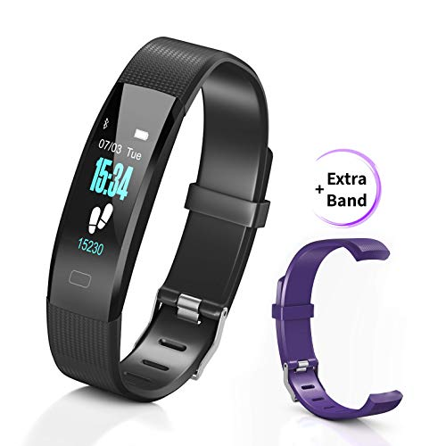 MayaStep Smart Watch and Fitness Tracker | Y1 Waterproof Heart Rate Monitor Digital Watch and Step Counter | Activity Tracker Fitness Watch Bracelet for Men and Women | Extra Purple Replacement Strip