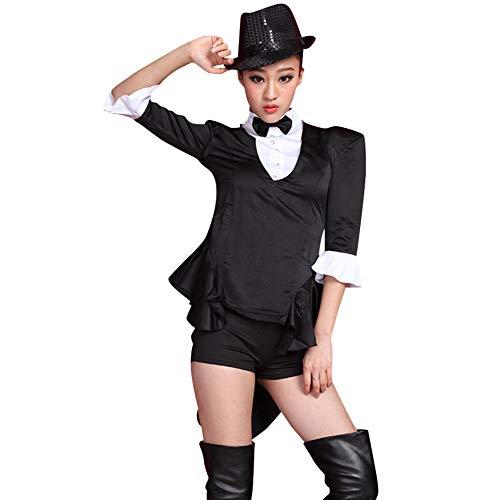 Gtagain Tanzsport Bekleidung Damen Kleider - Frauen Tippen Sie auf Tanzen Jazz Hip Hop Kostüme Leistung Lust auf Kleiden Show Schwalbenschwanz Anzug Sets