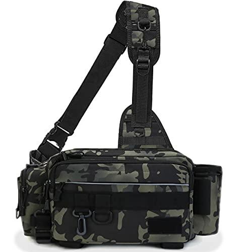 フィッシングバッグ 釣りバッグ 防水 タックルバッグ 多機能 大容量 ロッドベルト (軍緑)