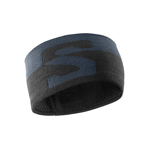 Salomon Unisex Multisport-Stirnband ORIGINAL HEADBAND, Dunkelgrau (Ebony)/Schwarz/Weiß, Einheitsgröße, LC1139400