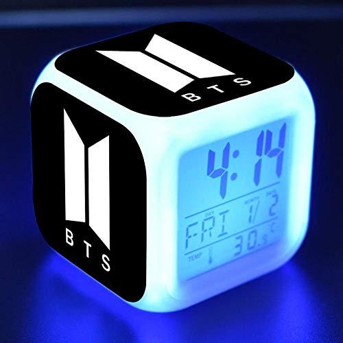 Mrs-jtt Kinderwecker Jungen mädchen digital kinderwecker KPOP BTS Cubic Digital Wecker Farbwechsel Uhr Bangtan Boys LED Kreatives Nachtlicht