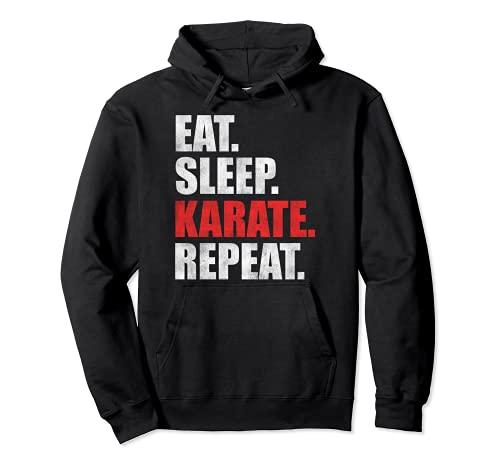 Eat Sleep Karate Repeat Sudadera con Capucha