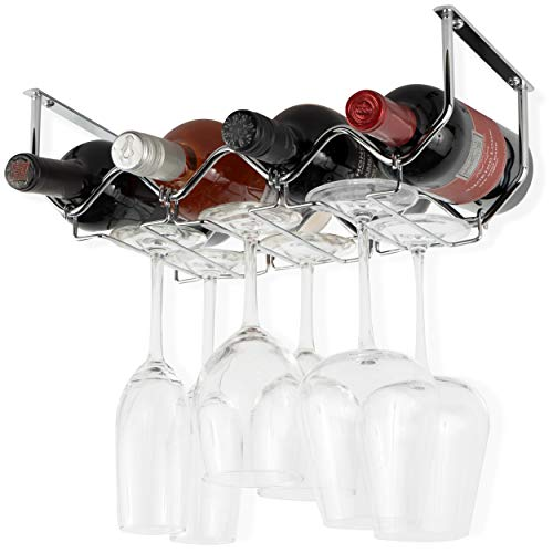 Wallniture Piccola Under Cabinet Wine Rack & Glasses Holder Kitchen Organization with 4 Bottle Organizer Metal Chrome