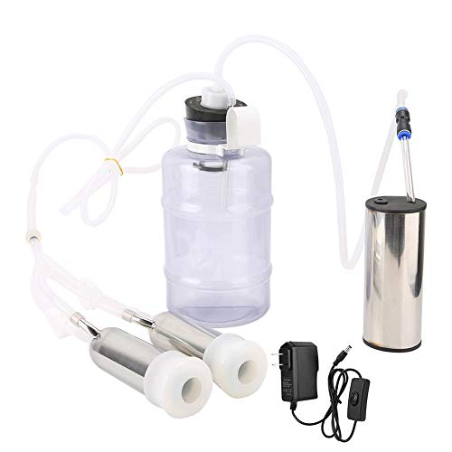 2L Electric Milking M achine Kit, Minitype Household High Configuration Electric Milking Machine Portable Double Head Milker Machine with Vacuum-Pulse Pump for Cow Sheep Goat (100-240V)(Cow US Plug)