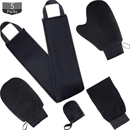 Kit de Aplicador Manoplas de Bronceador 5 en 1 con Guantes Exfoliantes, Aplicadores de Loción de Bronceado para Espalda, Manopla de Cara y 2 Tipos de Guantes Herramientas de Bronceador (Negro)