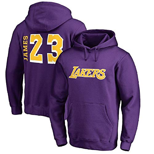 Lakers James Spielte Trainingsanzug Basketball Kapuzenpullover Basketball Herren Hoodie,Purple-L