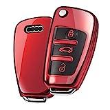 Audi Auto clés Housse Coque de Protection pour A1 S1 A3 S3 RS3 A4 S4 RS4 A6 S6 RS6 Q2 Q3 Q5 Q7 TT TTS,3-Touches en Silicone Sac pour clé Voiture Audi (Rouge)