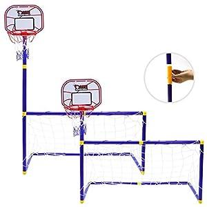 CYFIE Portería De Fútbol y Canasta Baloncesto 2 en 1 con Red para Niños,112 cm
