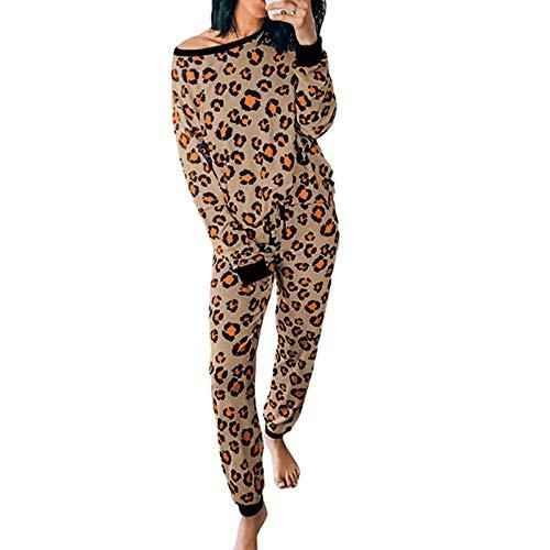 Dasongff Damen Schlafanzug Damen Zweiteiliger Set, Leopardenmuster Hausanzug...