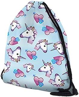 حقيبة رياضية برباط مقاومة للماء بتصميم وحيد القرن حقيبة للتسوق في الهواء الطلق حقيبة الظهر الرباط حقيبة الظهر Daypack الأزرق