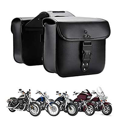 Motorcycle Saddlebags Throw Over Saddle bags Panniers Side Bags with lock for Sportster Softail Dyna Road King Synthetic Leather Universal, 1 Pair, Black by KEMIMOTO