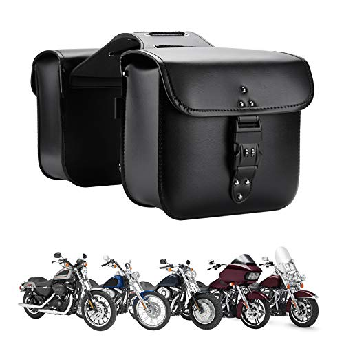 Motorcycle Saddlebags Throw Over Saddle bags Panniers Side Bags with lock for Sportster Softail Dyna Road King Synthetic Leather Universal, Black