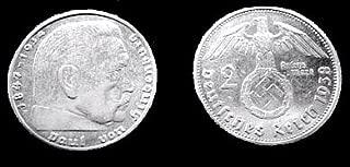 WW2 ORIGINAL NAZI SILVER COIN 2 Reichs Mark Fine Silver