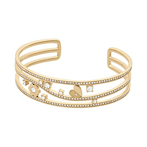 Michael Kors Womens Gold-Tone Flower Bangle Cuff Bracelet, One Size