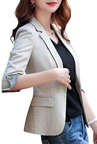 SUSIELADY Womens Notched Lapel Pocket Single Button Casual Work Office Blazer Jacket Slim Fit product image