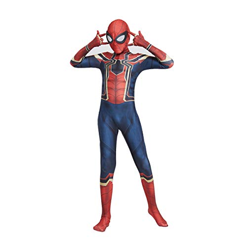 Bambini Cosplay Spiderman Costume Bambino Spiderman Ritorno A Casa Halloween Carnevale Cosplay Spiderman Vestito Lycra Stampa 3D Fancy Dress Party Movie Costume Puntelli (A,Children: XL 140-150cm)