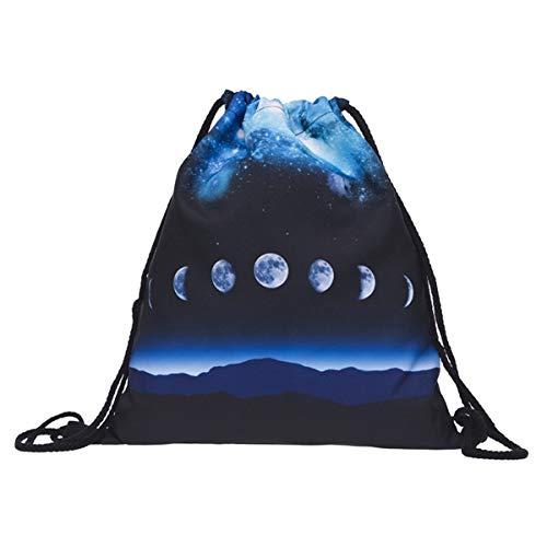 Creativee - Sac à dos imprimé avec cordon de serrage - Pour enfant (unisexe) - En nylon - Sac pliable pour l'école, la maison, le sport - Sac de rangement ou de voyage, Moon phases galaxy blue