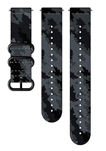 Suunto Ersatz-Uhrenarmband, für alle Suunto Spartan Sport WRH und Suunto 9 Uhren, Textil, Länge: 24,4 cm, Stegbreite: 24 mm, Grau/Schwarz, Inkl. Stifte zur Montage, SS050230000