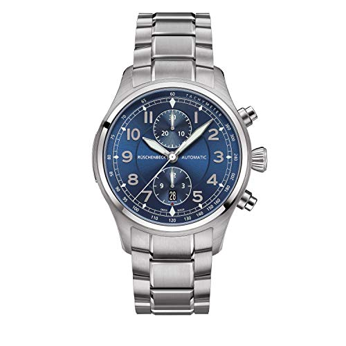 Rüschenbeck The Watch Automatik Herrenuhr R3COUNTER Chronograph Fliegeruhr 316L Edelstahl 44 mm Saphirglas Edelstahlarmband Wasserdicht 100 m blau/Silber R3-S-MB-S-04-A-SAT