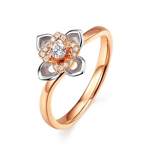 AnazoZ Echtschmuck 18k Rosegold Damen Verlobungsringe mit Diamant Steinchen Blume Hochzeitsringe Jarestag für Frau Freundin Gr. 53 (16.9)